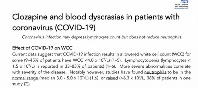 Clozapina y discrasias sanguíneas en pacientes con coronavirus