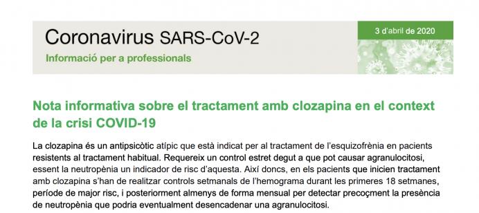 Nota informativa sobre el tratamiento con clozapina en el contexto del COVID-19