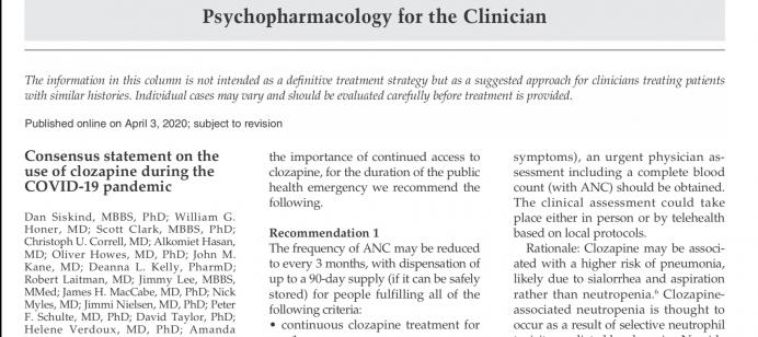 Declaración de consenso sobre el uso de la clozapina durante la pandemia de COVID-19