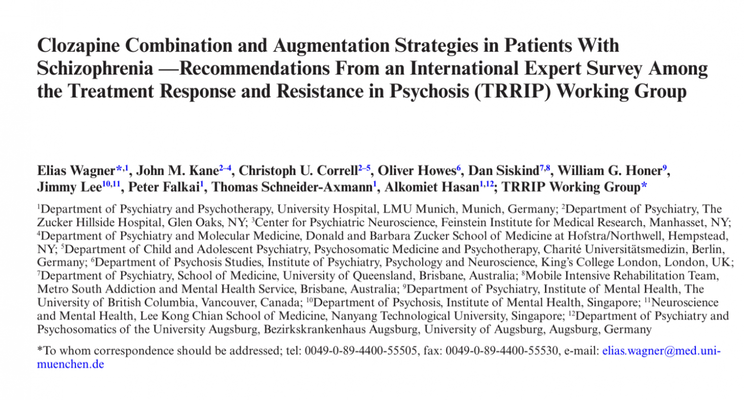 Clozapine Combination and Augmentation Strategies in Patients With Schizophrenia