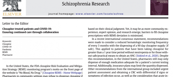 Clozapine treated patients and COVID-19: Ensuring continued care through collaboration